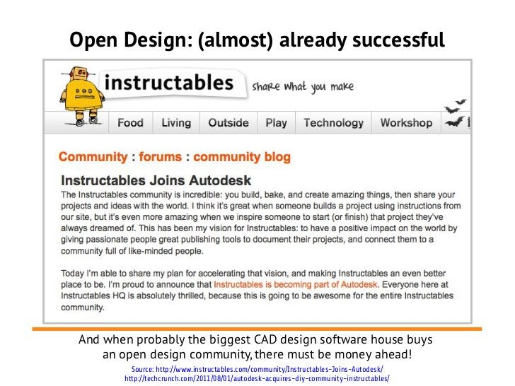 Open Design: (almost) already successfulAnd when probably the biggest CAD design software house buys    an open design com...