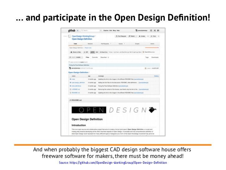 … and participate in the Open Design Definition!    And when probably the biggest CAD design software house offers       f...
