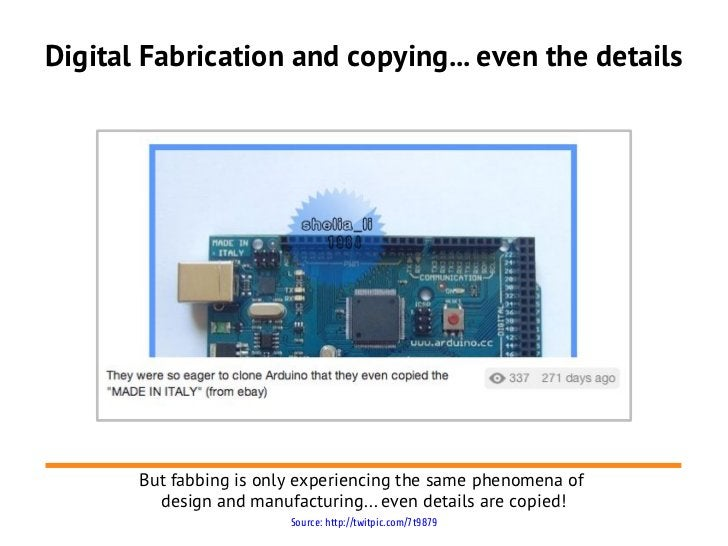 Digital Fabrication and copying... even the details       But fabbing is only experiencing the same phenomena of         d...