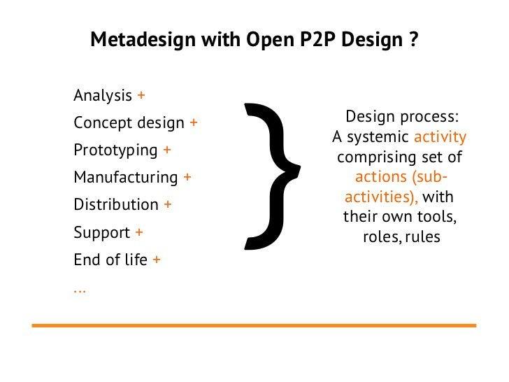 Metadesign with Open P2P Design ?                    }Analysis +Concept design +                Design process:           ...