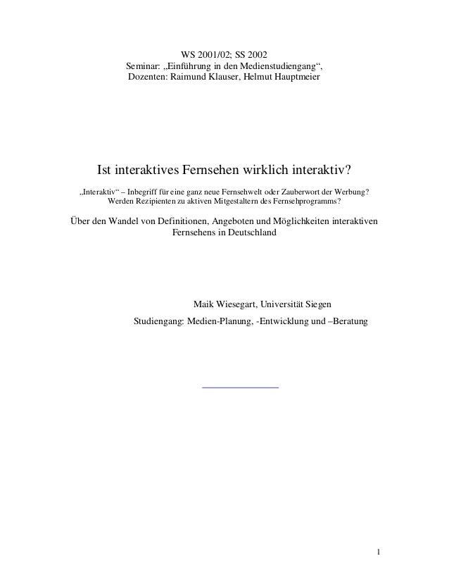 """1 WS 2001/02; SS 2002 Seminar: """"Einführung in den Medienstudiengang"""", Dozenten: Raimund Klauser, Helmut Hauptmeier Ist int..."""