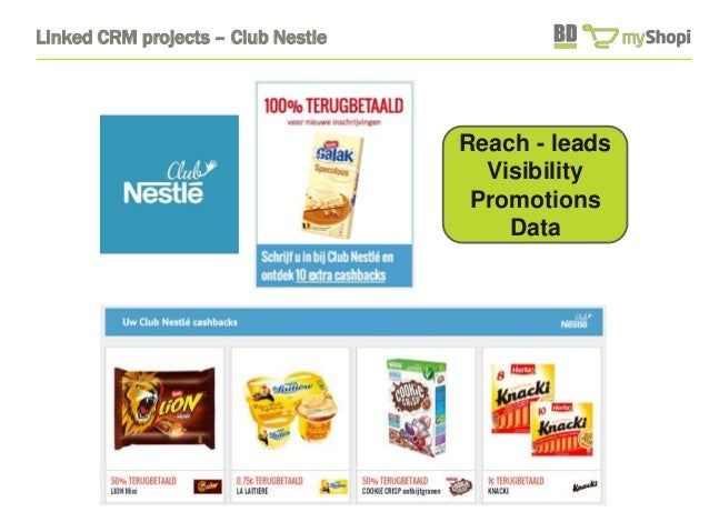 Linked CRM projects – Club Nestle  Reach - leads  Visibility  Promotions  Data