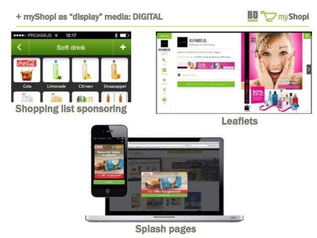 """+ myShopi as """"display"""" media: DIGITAL  Leaflets  Splash pages  Shopping list sponsoring"""