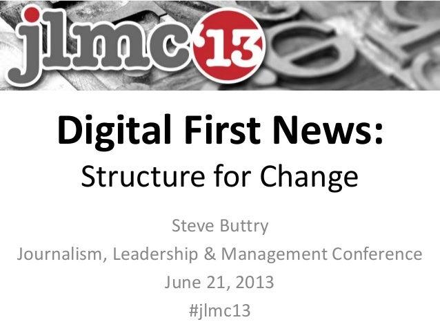 Digital First News:Structure for ChangeSteve ButtryJournalism, Leadership & Management ConferenceJune 21, 2013#jlmc13