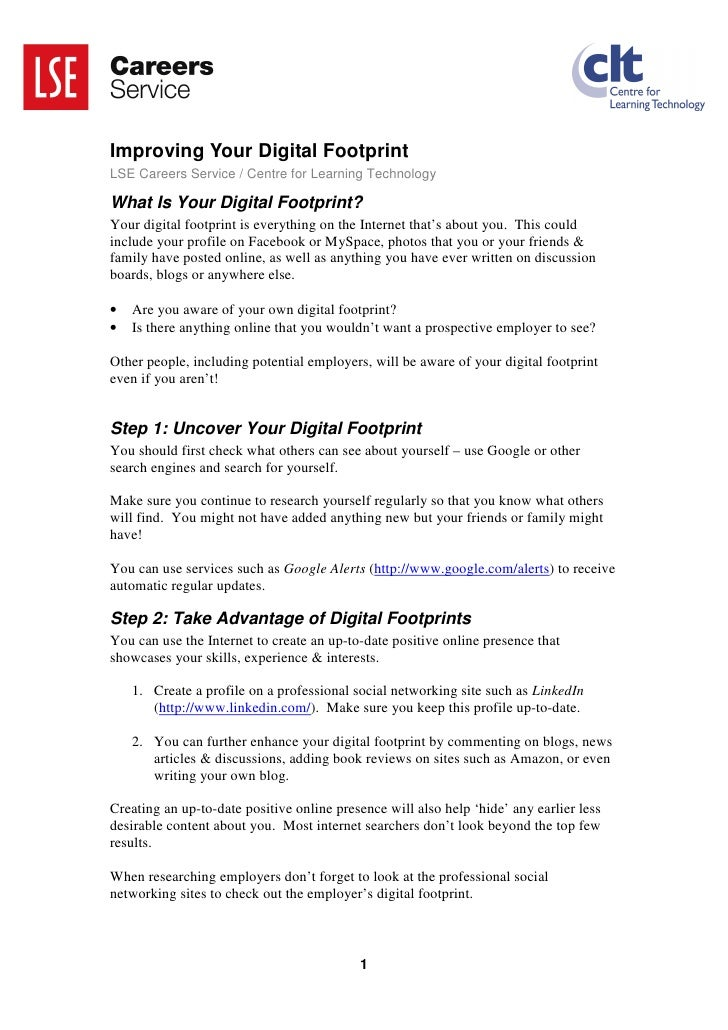 Improving Your Digital Footprint LSE Careers Service / Centre for Learning Technology  What Is Your Digital Footprint? You...