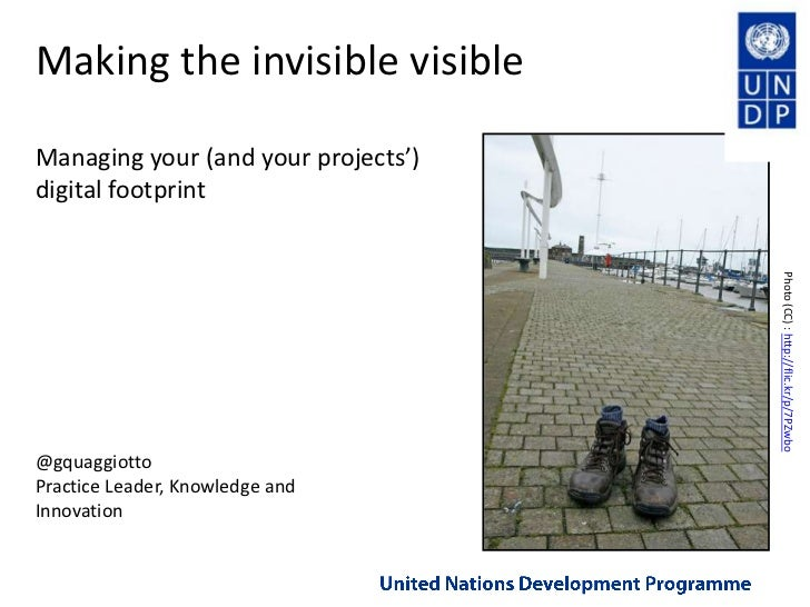 Making the invisible visibleManaging your (and your projects') digital footprint<br />Photo (CC) : http://flic.kr/p/7PZwbo...