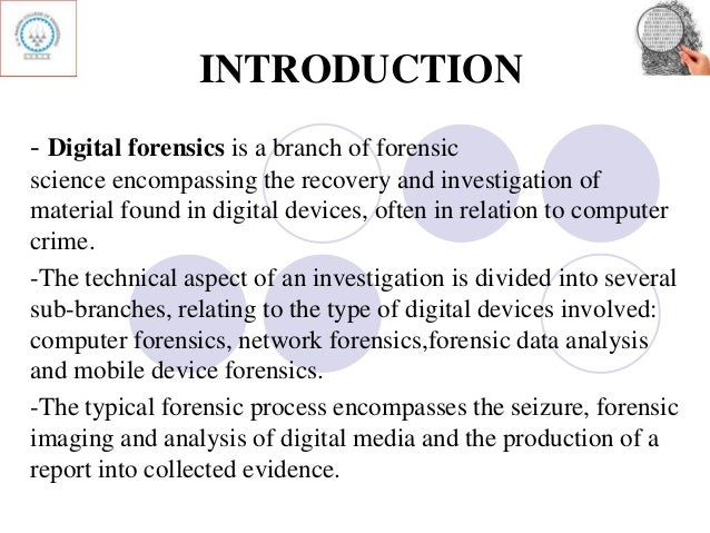 introduction to forensic investigations 1 an introduction to forensic investigation 14 - 18 may 2012 the professional development project of the faculty of.