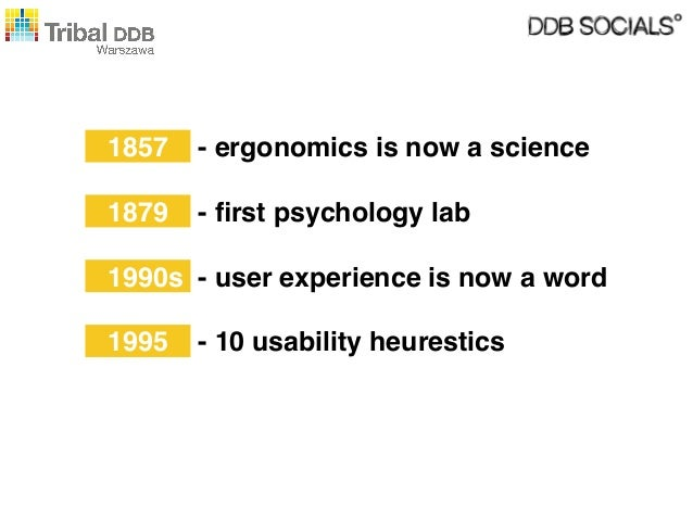 1857  - ergonomics is now a science  1879  - first psychology lab  1990s - user experience is now a word 1995  - 10 usabili...