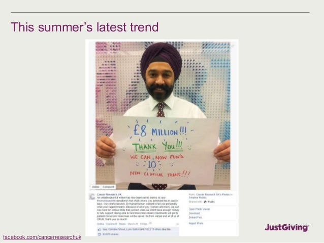 Growth of mobile Facebook on JustGiving