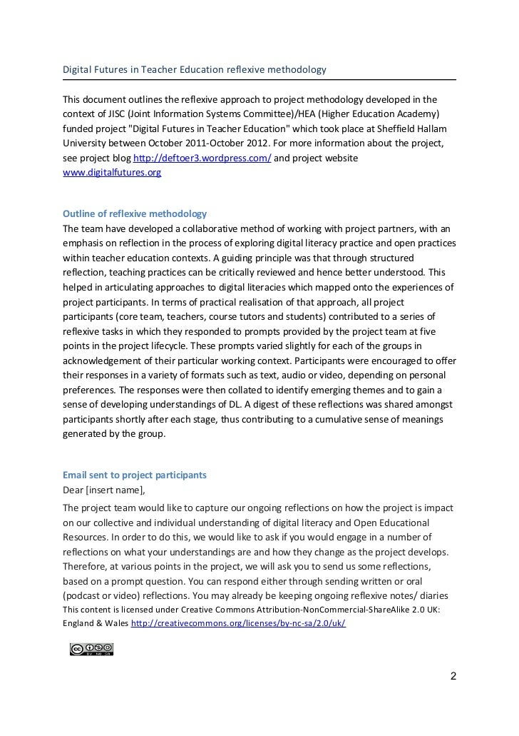 Digital Futures in Teacher Education reflexive methodologyThis document outlines the reflexive approach to project methodo...