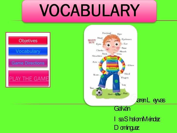 By Anakaren Leyvas Galván Isa Shalom Méndez Domínguez Vocabulary Game Directions