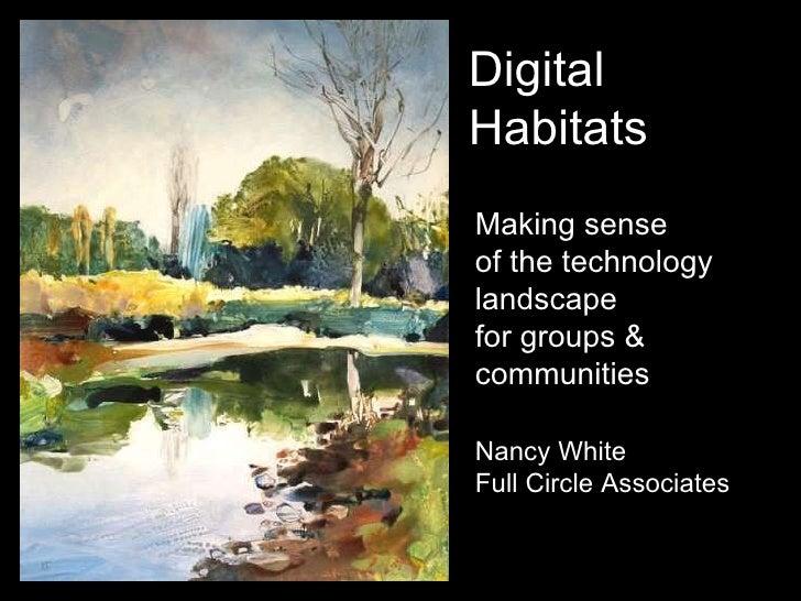 Making sense  of the technology landscape for groups & communities Nancy White Full Circle Associates Digital Habitats