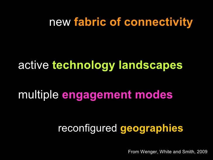 In collaboration with Nancy White and John Smith new  fabric of connectivity   active  technology landscapes multiple  eng...