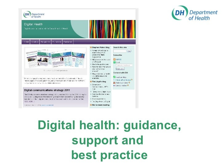 Digital health: guidance, support and  best practice