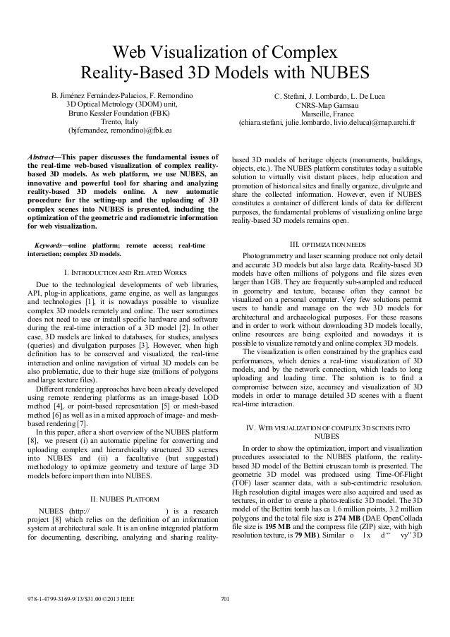 Web Visualization of Complex Reality-Based 3D Models with NUBES B. Jiménez Fernández-Palacios, F. Remondino 3D Optical Met...