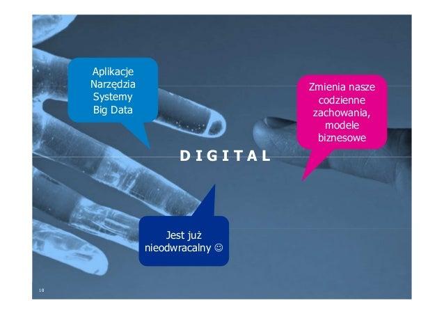18 D I G I T A L Aplikacje Narzędzia Systemy Big Data Zmienia nasze codzienne zachowania, modele biznesowe Jest już nieodw...