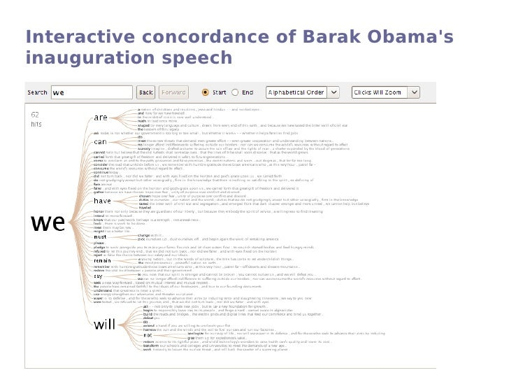 obama s first inauguration speech analysis example Obama's inauguration is a public speaking which differs from conversation the differences can be found in a way of public speaking is opposed to conversation for example, obama dresses indeed a very formal dress, and he uses a very formal political language when.