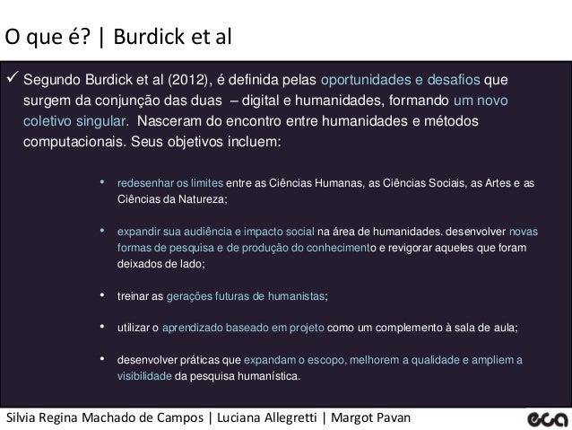 Silvia Regina Machado de Campos   Luciana Allegretti   Margot Pavan O que é?   Burdick et al  Segundo Burdick et al (2012...