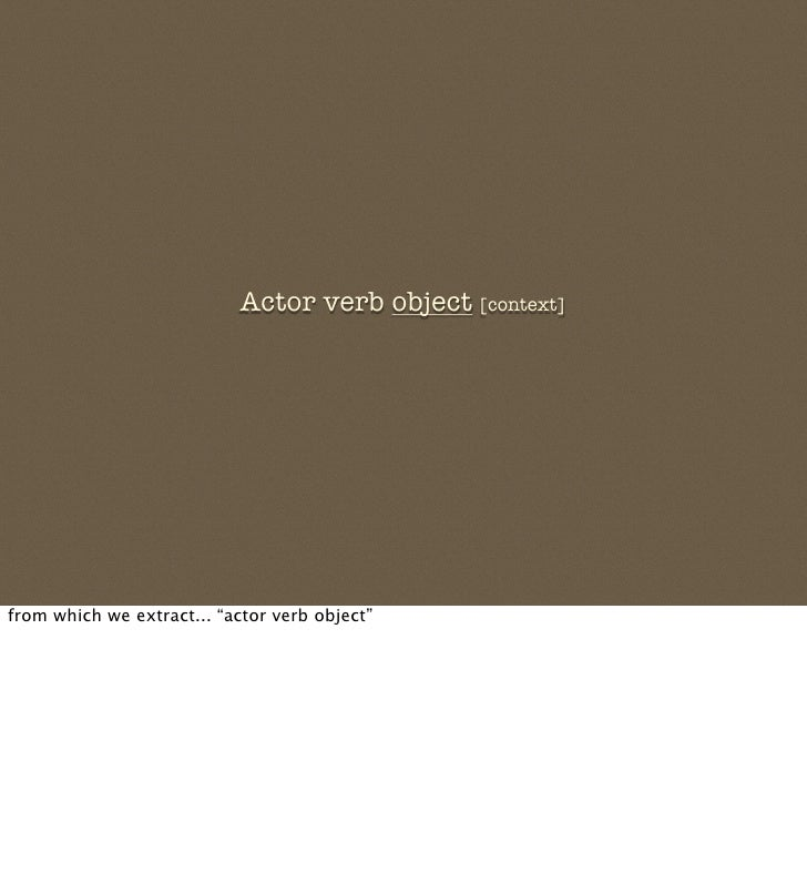 """Actor verb object [context]     from which we extract... """"actor verb object"""""""