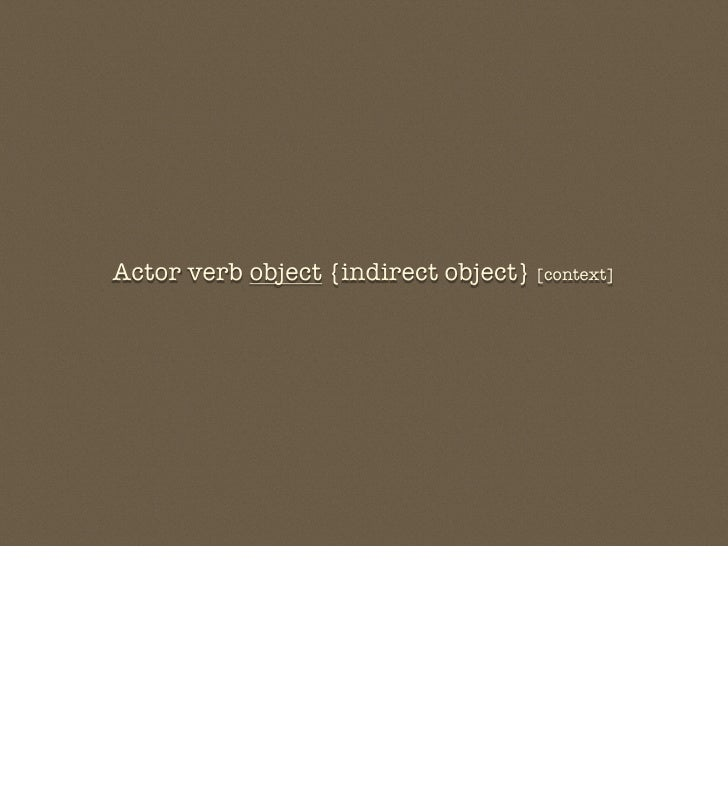 Actor verb object {indirect object} [context]