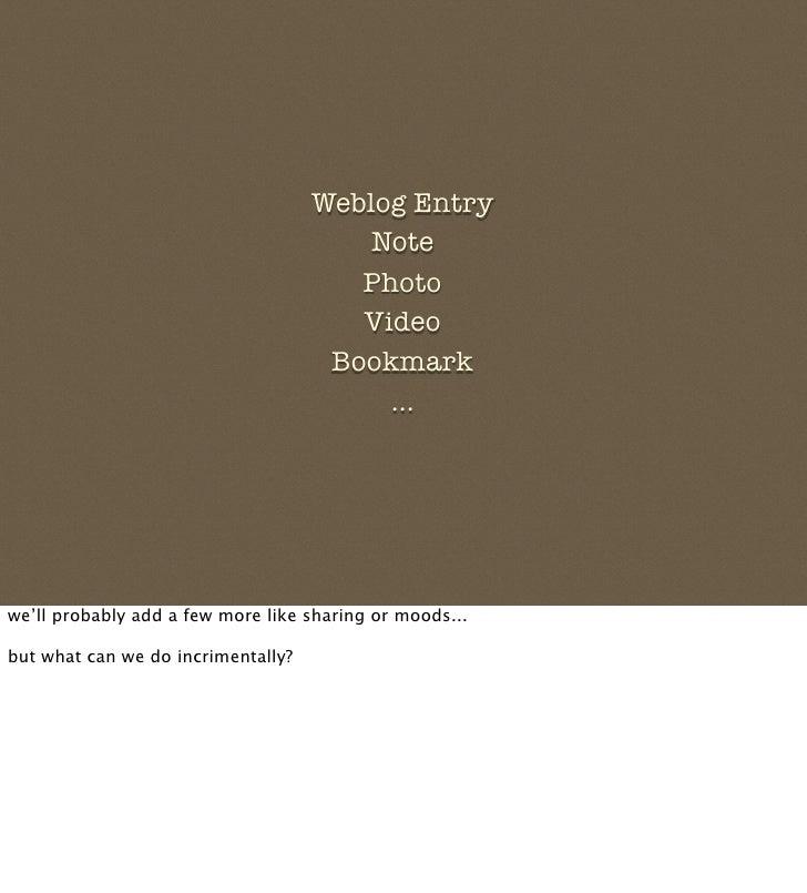 Weblog Entry                                         Note                                        Photo                    ...