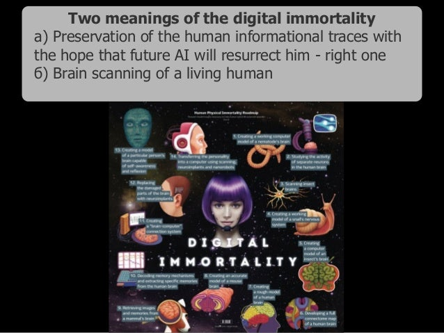 Two meanings of the digital immortality а) Preservation of the human informational traces with the hope that future AI wil...