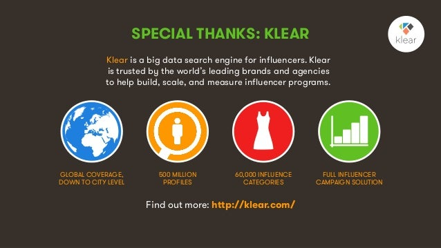 9 Klear is a big data search engine for influencers. Klear is trusted by the world's leading brands and agencies to help b...