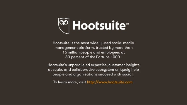 14 Hootsuite is the most widely used social media management platform, trusted by more than 16 million people and employee...