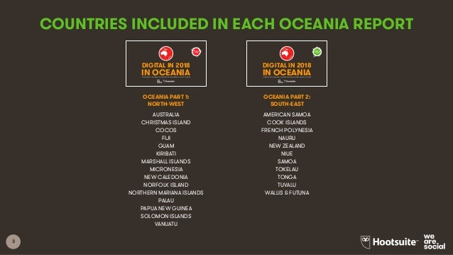 3 COUNTRIES INCLUDED IN EACH OCEANIA REPORT AUSTRALIA CHRISTMAS ISLAND COCOS FIJI GUAM KIRIBATI MARSHALL ISLANDS MICRONESI...