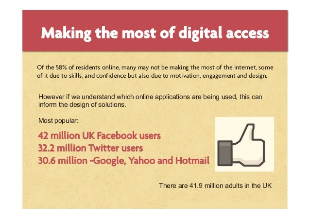 Making the most of digital accessOf the 58% of residents online, many may not be making the most of the internet, someof i...