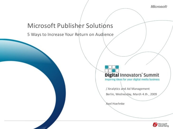 Microsoft Publisher Solutions 5 Ways to Increase Your Return on Audience                                           / Analy...