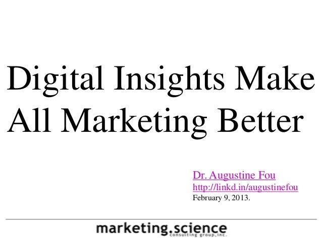 Digital Insights MakeAll Marketing Better            Dr. Augustine Fou            http://linkd.in/augustinefou            ...