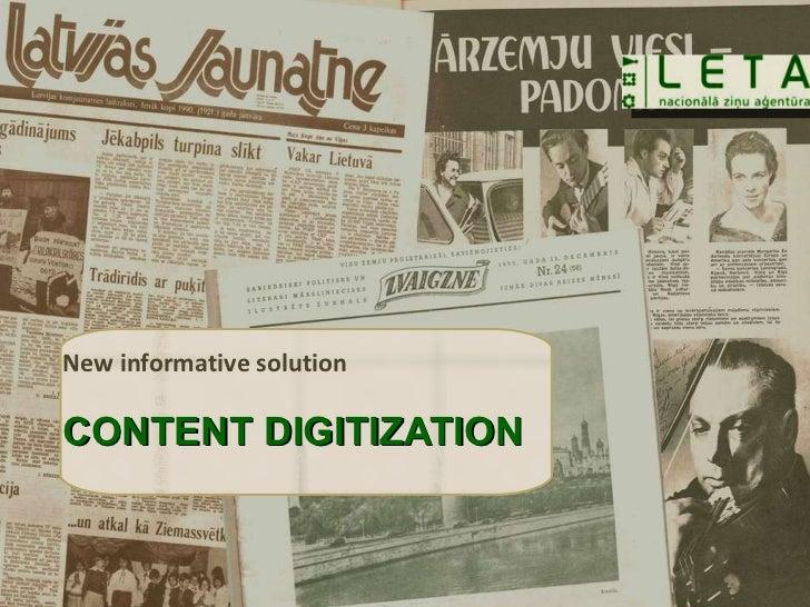 New informative solution CONTENT DIGITIZATION