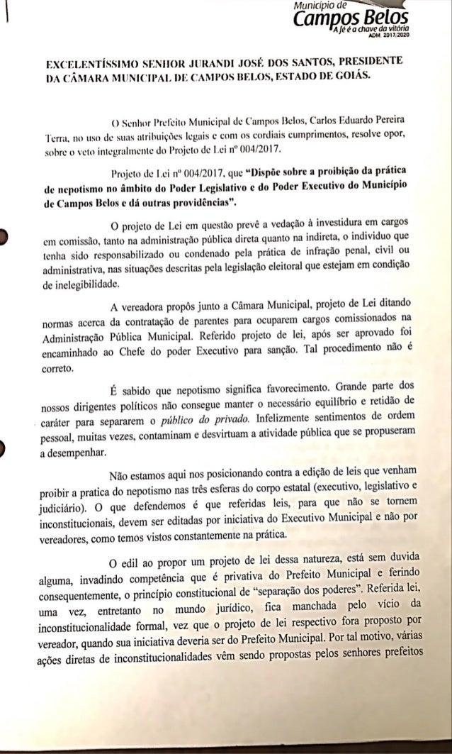 Veto da Lei antinepotismo em Campos Belos (GO)