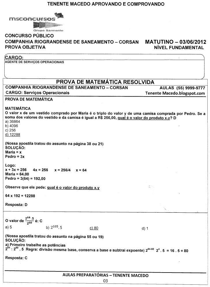 CONCURSO PUBLICOCOMPANHIA RIOGRANDENSE                       DE SANEAMENTO - CORSAN     MATUTINO - 03/06/2012PROVA OBJETIV...