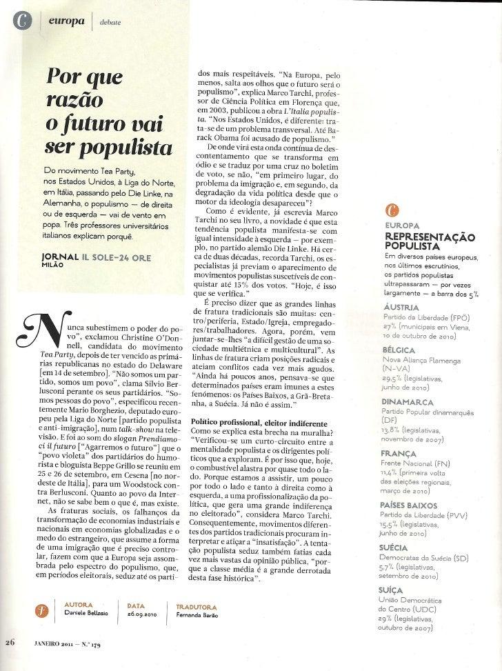POPULISMO E DEMOCRACIA (2 artigos)