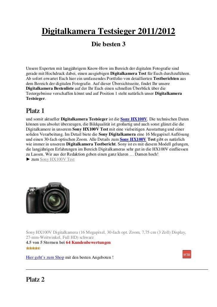 Digitalkamera Testsieger 2011/2012                                    Die besten 3Unsere Experten mit langjährigem Know-Ho...