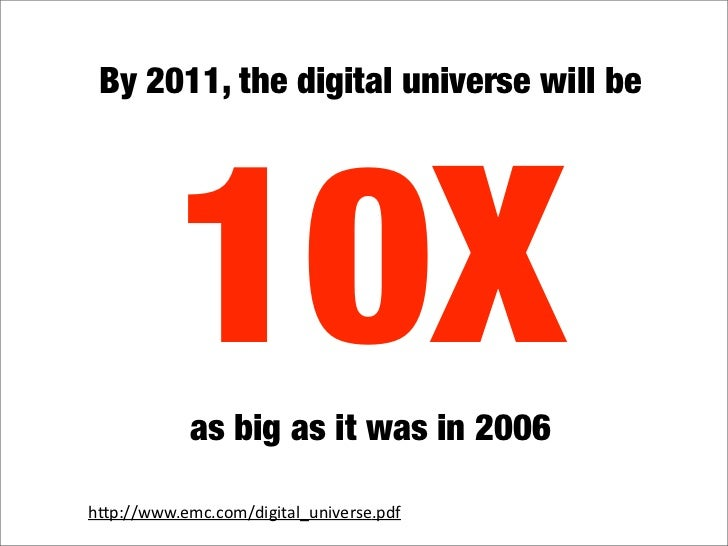 By 2011, the digital universe will be               10X             as big as it was in 2006  hquot;p://www.emc.com/digita...