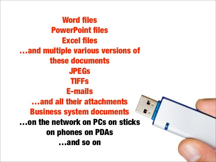 Word files         PowerPoint files            Excel files …and multiple various versions of        these documents          ...