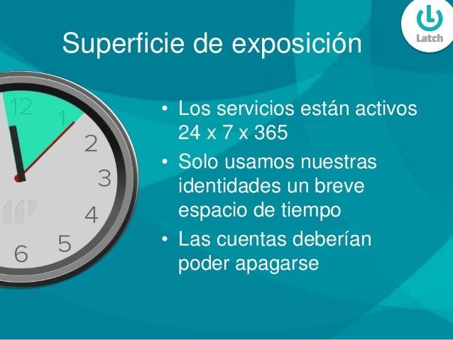 Superficie de exposición • Los servicios están activos 24 x 7 x 365 • Solo usamos nuestras identidades un breve espacio de...