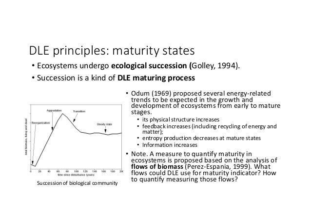 DLEprinciples:maturitystates • Ecosystemsundergo ecologicalsuccession(Golley,1994). • SuccessionisakindofDLE...