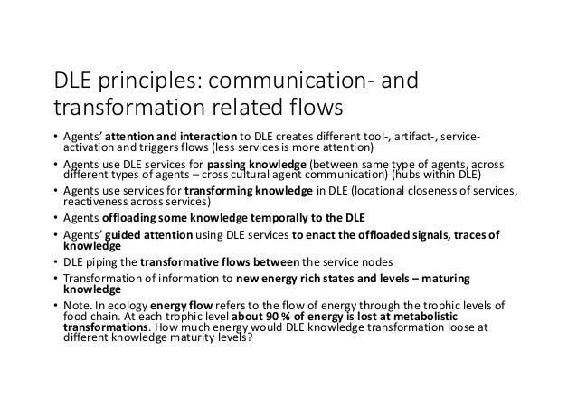 DLEprinciples:communication- and transformationrelatedflows • Agents'attentionandinteraction toDLEcreatesdiffer...