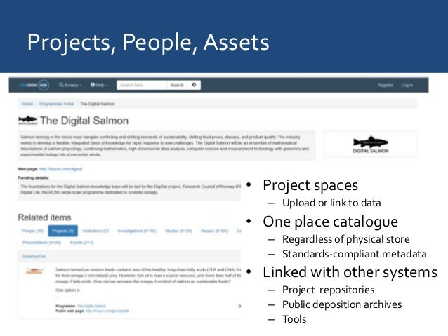 Projects, People, Assets • Project spaces – Upload or link to data • One place catalogue – Regardless of physical store – ...