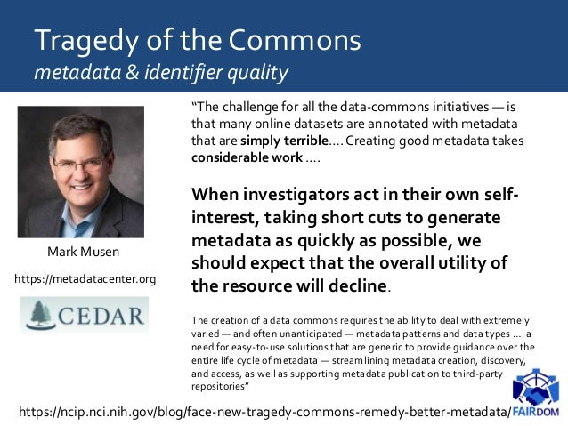 TheTragedy of the Commons community socialisation Value Systems • of assets, of reproducibility, of metadata • economics o...