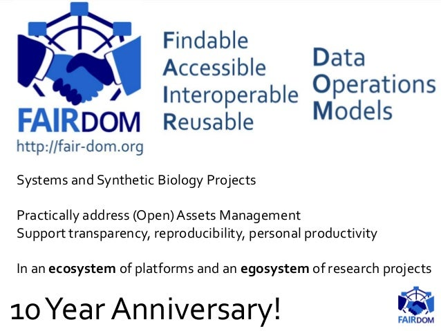Systems and Synthetic Biology Projects Practically address (Open) Assets Management Support transparency, reproducibility,...