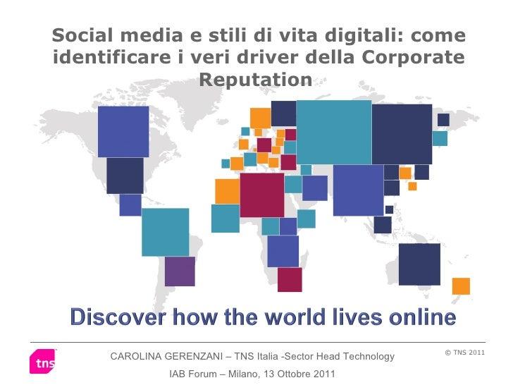 Social media e stili di vita digitali: come identificare i veri driver della Corporate Reputation  CAROLINA GERENZANI – TN...