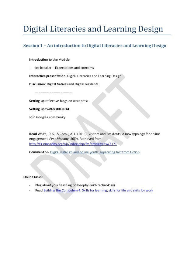 Digital Literacies and Learning Design Session 1 – An introduction to Digital Literacies and Learning Design Introduction ...