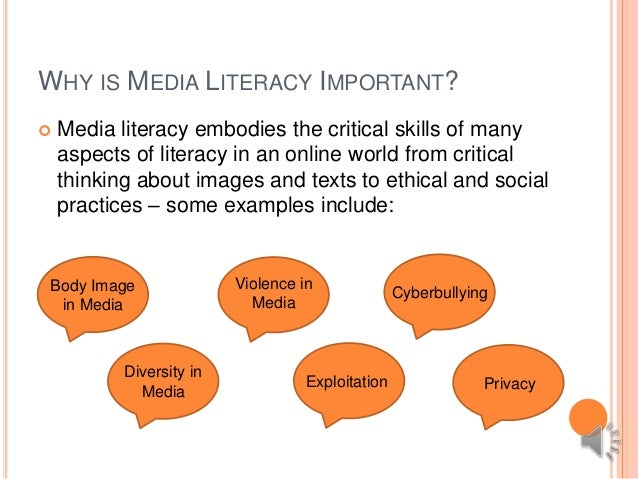 what is media literacy Media literacy encompasses the practices that allow people to access, critically evaluate, and create media media literacy is not restricted to one medium.