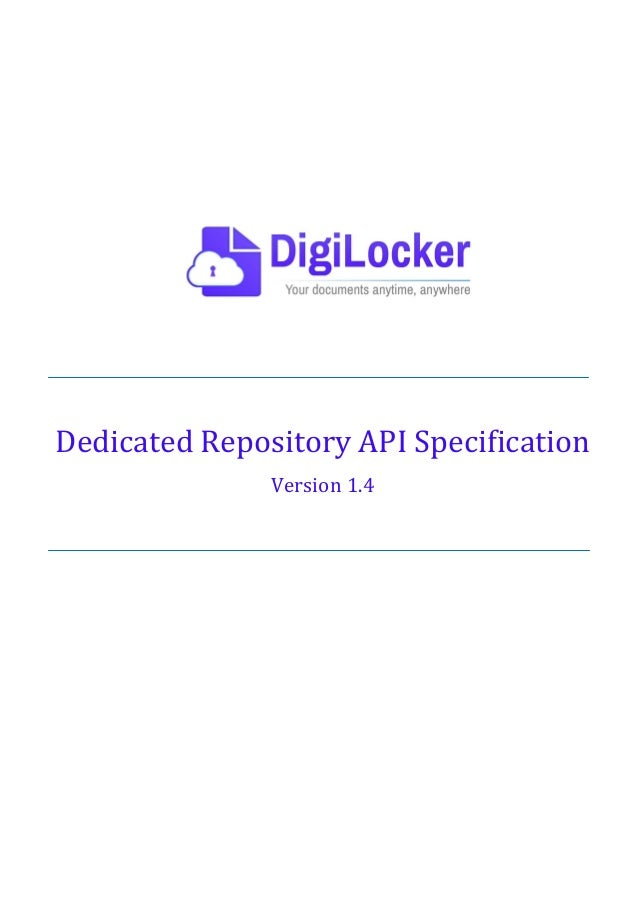 Dedicated Repository API Specification Version 1.4