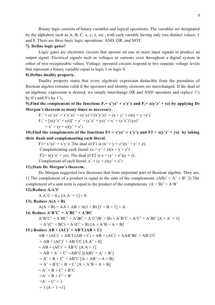 Digital Logic Circuit Design And Analysis - Somurich.com
